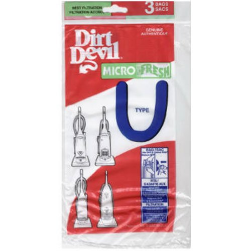 Dirt Devil Type U Microfresh Vacuum Bags (3-Pack), - Devil Featherlite Dirt Bags
