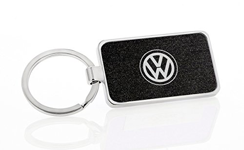 (Volkswagen 2-Sided Simulated Carbon Fiber Inlay Rectangle Key Chain (Black Satin))