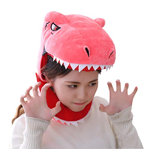 - yqtyqs T-Rex Hat Dinosaur Caps Mask Halloween Party Red