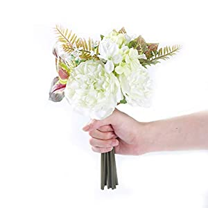 """MARLLES Real Touch Artificial Bridal Peony Bouquet in Lavender and Pink, Faux Rose Flowers Wedding Bouquets for Bridesmaids Party Home Decor - 11.5"""" Tall-White 10"""