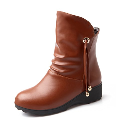 Boots Low Material Women's Round Soft Brown Toe Allhqfashion Heels Top Closed Low Solid wFxPqE0