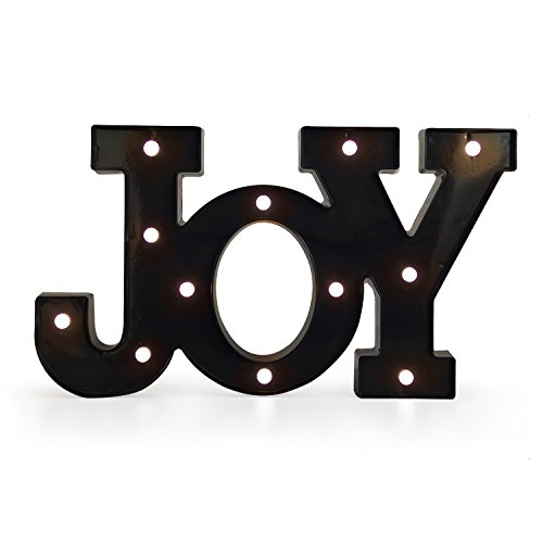 (Asense Marquee Lighted Sign 'Joy' Shaped LED Word Sign Battery Operated, Black Color, 9.4 X 16.5)