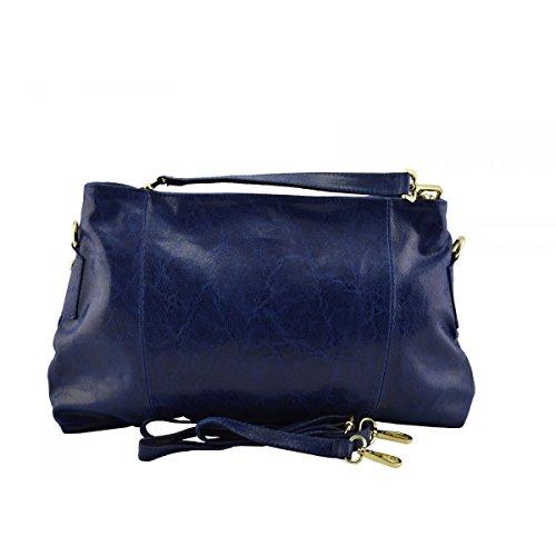 Peleteria En Italia Echa Oscuro Azul Piel En Verdadera Mujer Color Bolso De Bolso Mano qvUxqnC4
