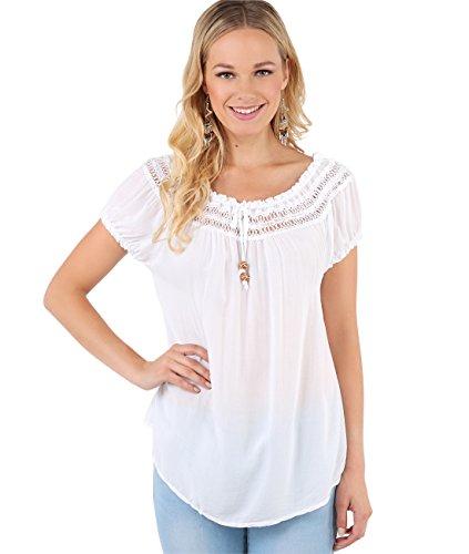 Off Shoulder Tunic Top (Size UK/US Medium-Large), White (6888) -