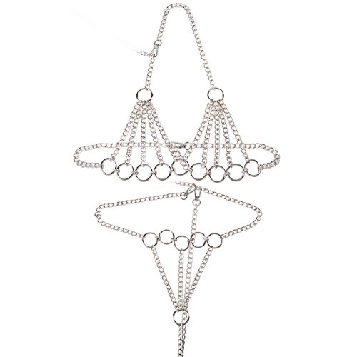 Charming Bondage Vaginal Jewelry Female Sexy Stainless Steel Chain Breast Bra and Thong Restraint Wear Clothes J2119 by Sex Toys > Bondage Kit