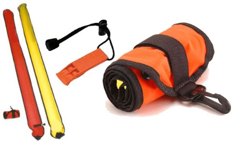 101SNORKEL 2 Tone / 6 ft Scuba Diving Dive Signal/Marker Tube with Inflator, (Safety Sausage) ()