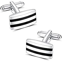 PANDALUO Mens Cufflinks, Simple Stripes Cuff Link for Mens Business Wedding Present