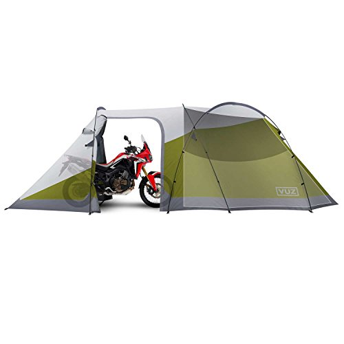 Vuz Moto 12 Foot Waterproof Motorcycle Tent With Integrated 3-Person Tent Space - 4 Points of Entrance. Waterproof Motorcycle Camping Shelter!