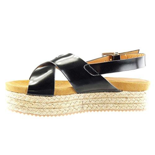 Angkorly Women's Fashion Shoes Sandals Espadrilles - Platform - Thong - Buckle Wedge Platform 5 cm Black k7GiKOP