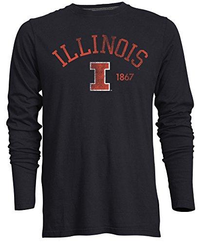(Camp David Men's NCAA Illinois Illini Signature Crew Neck Long Sleeve Tee, Admiral - Medium)