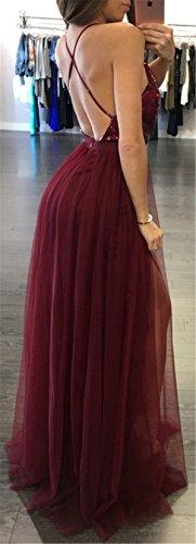 Allonly Femmes Sangle Profonde V Sexy Paillettes Dos Nu Maxi Robes Du Soir Robe Du Vin Rouge