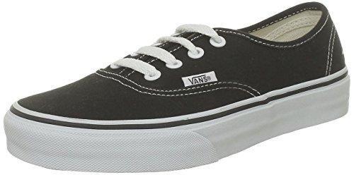 Vans Authentic Classic, Unisex Adult Low Top Lace-up Trainers, Black (Black/White), 8 UK (42 EU)
