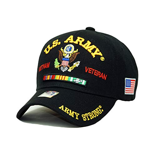 (U.S. Military Official Licensed Embroidery Hat Army Camo Veteran Retired Baseball Cap (U.S. Army Vietnam Veteran- Black))