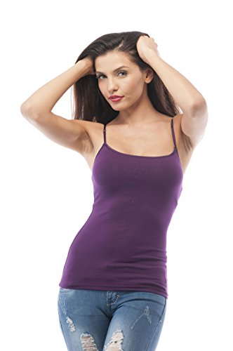 (Cami Camisole Built in Shelf BRA Adjustable Spaghetti Strap Tank Top Plus Size (2XL, Grape))