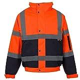 MyShoeStore Hi Vis Viz Bomber Jacket High Visibility Workwear Safety Security Hooded Padded Waterproof Taped Seams Work Wear Coat S-5XL (M, Orange/Navy)