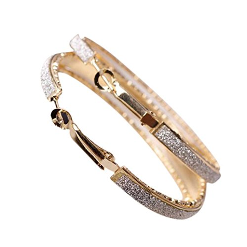 Aimtoppy Women Jewelry Dull Polish Drop Round Dangle Drop Party Big Hoop Earrings  Gold