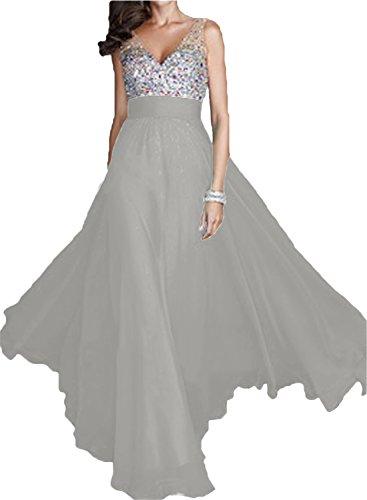 A Silver Festkleid Elegant Ivydressing Promkleid Ausschnitt Abendkleid Partykleid Linie Damen V Chiffon Lang qCHIH7