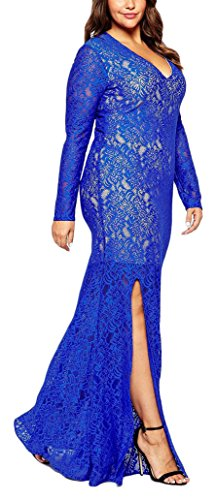 4102dbe37ad0 Bestfort Damen Langärmelige Elegant Lang Kleid Vintage V-Ausschnitt Spitze  Pakethüfterock Rückenfreies Cocktailkleider Großformat Evening