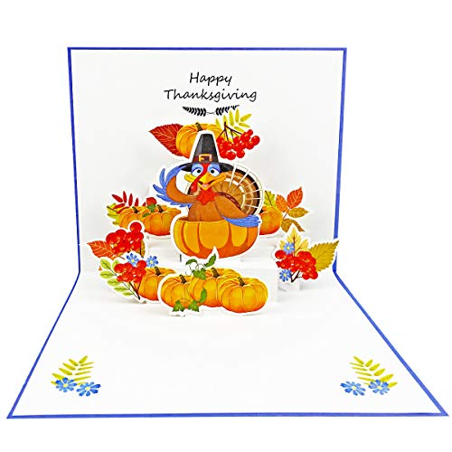 Happy Thanksgiving Card,3D Pop Up Thanksgiving Greeting Cards Showing Turkey Pumpkins best Thanksgiving Present for Kids with Envelope and Glue 1 Pack