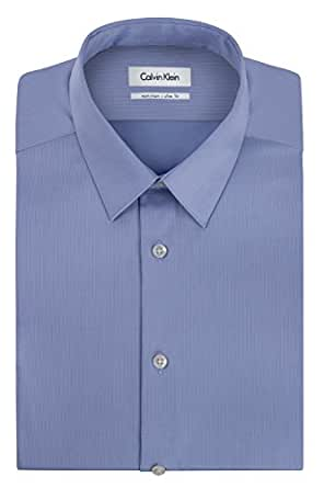"Calvin Klein Men's Non Iron Slim Fit Solid Point Collar Dress Shirt, Mist, 14.5"" Neck 32""-33"" Sleeve"