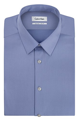 Calvin Klein Men's Non Iron Slim Fit Solid Point Collar Dress Shirt, Mist, 16.5