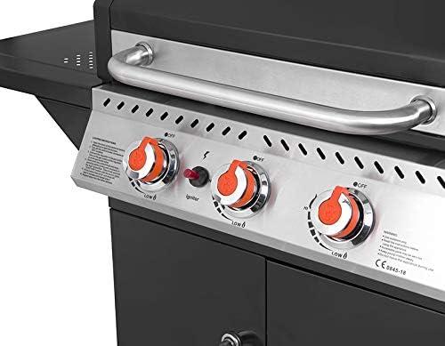 BRASERO - Barbecue Perth Noir 3 Feux à gaz - Jusqu'à 10 convives - Surface de Cuisson 60 x 42 cm - 2 Tablettes - Jauge de température - Récupérateur de Graisse - 9 KW