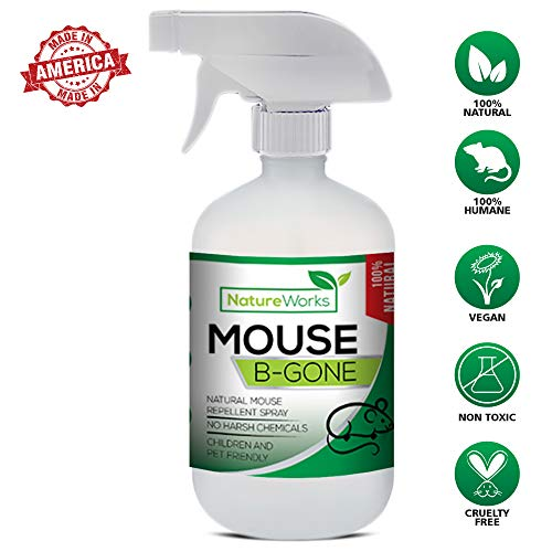 Mouse No More I Mice Repellent Spray I Mice Rat & Squirrel Deterrent I Car & RV Defense | Natural Organic Peppermint Oil | Indoor + Outdoor | Pet Safe (16oz)