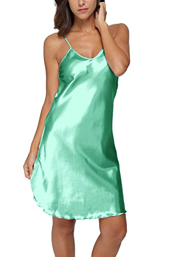 Original Kimono Women's Satin Spaghetti Strap Nightdress Nightgown Babydoll Green L ()
