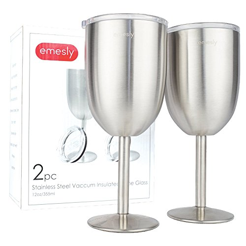 Stainless Steel Wine Glasses Double-Walled Insulated (Set of 2) Unbreakable Premium Food Grade 18/8 Stainless Steel Elegant Stemmed Wine Goblets BPA Free Leak Resistant Lids for Red White Wine, 12 Oz. ()