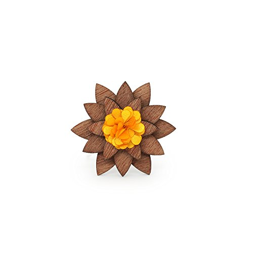 (Mahoosive Men's Wedding Party Suit Corsage Wood Lapel Flower Wooden Brooch Pin (yellow))