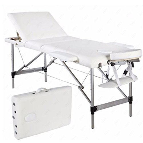 73″ Luxury Aluminum Massage Table Triple Folding Adjustable Spa Facial Salon Tattoo Massage Bed with Face Cradle & Carry Case (White)