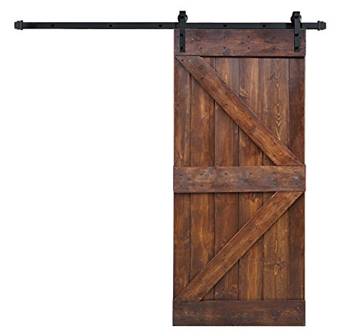 WELLHOME 6.6 FT Sliding Hardware Kit+ 36inX84in K Series DIY Solid Interior Barn Knotty Wood Painted Door (Dark walnut) by WELLHOME (Image #7)
