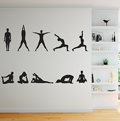 - Stickerbrand 10 Yoga Poses Silhouette Position Wall Decal.(Black Color) Great for Yoga Studio or Home. #267