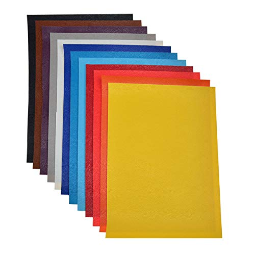 Faux Leather Sheets for Earrings- 12 Pieces A4 Size 8 x 12 Inch(21 x 30 cm) Solid Color Litchi Grain Texture Faux Leather Fabric Sheets Cotton Back for Hair Bows, Headband, Wallet Making