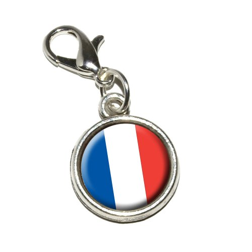 Graphics and More France French Flag Antiqued Bracelet Pendant Zipper Pull Charm with Lobster Clasp - Flag Zipper Pull