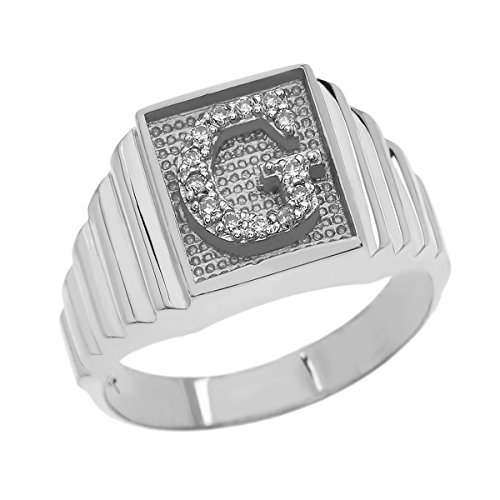 Men's 925 Sterling Silver Layered Band Square Face Diamond Initial Letter Ring (Size - Faces Diamond