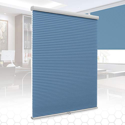 SUNFREE Cordless Cellular Shades Honeycomb Blinds Light Filtering Shades for Window and Door, Home and Office 27 x 64 inch Blue ()