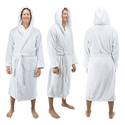 Comfy Robes Personalized Men's Deluxe 20 Oz. Turkish Cotton Hooded Bathrobe, XXL White by Comfy Robes (Image #2)