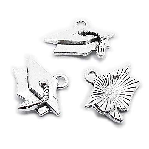 (150 Pieces Antique Silver Plated Jewelry Charms Findings Fashion Craft Making Crafting K2ZC8D Mortarboard Trencher)