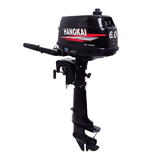 SHZICMY Outboard Motor, 6 HP 2-Stroke Outboard Motor Tiller Shaft Inflatable Fishing Boat Marine Engine Water Cooling CDI System(US Stock)