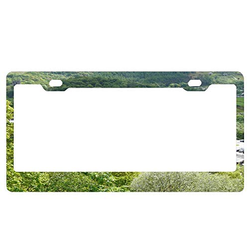 (Welsh Slate Museum License Plates Frame, Black Aluminum Metal License Plate Frame with Screw Caps, 2 Holes Car Licenses Plate Cover Holder for US Vehicles)