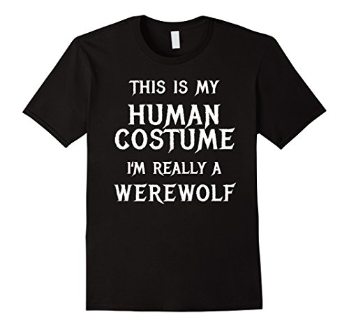 Mens Werewolf Halloween Costume Shirt Easy Funny for Kid Boys Men Large Black