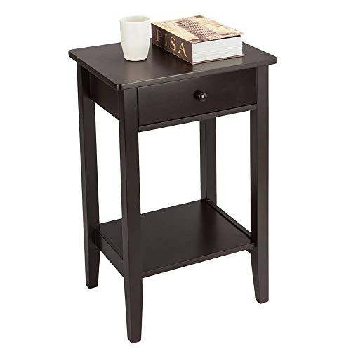 Binlin NightStand Two-Layer Bedside Table Coffee Table Chairside End Table with 1 Drawer and Shelf Narrow Nightstand for Living Room,Coffee