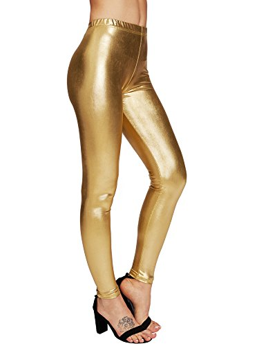 SweatyRocks Women's Shiny Metallic Leggings Stretchy Slim Tights Pants Gold (Gold Tights)