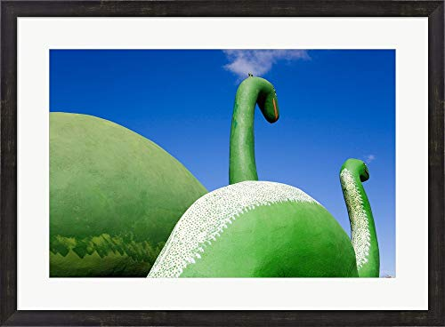 (Sculptures of Two Dinosaurs Outside a Rock Shop, Holbrook, Route 66, Arizona, USA Framed Art Print Wall Picture, Espresso Brown Frame, 33 x 24 inches)