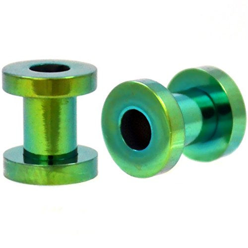 Pair of Green Titanium Plated Steel Screw Fit Ear Plugs Tunnels Gauges- 4G 5MM