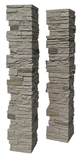 NextStone Polyurethane Faux Stone Split Post Cover - Slatestone Sahara (Deck Post Covers)