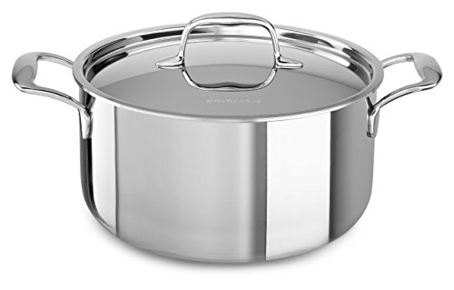 KitchenAid KCT60LCST Tri-Ply Stainless Steel 6-Quart Low Casserole with Lid Cookware - Stainless Steel