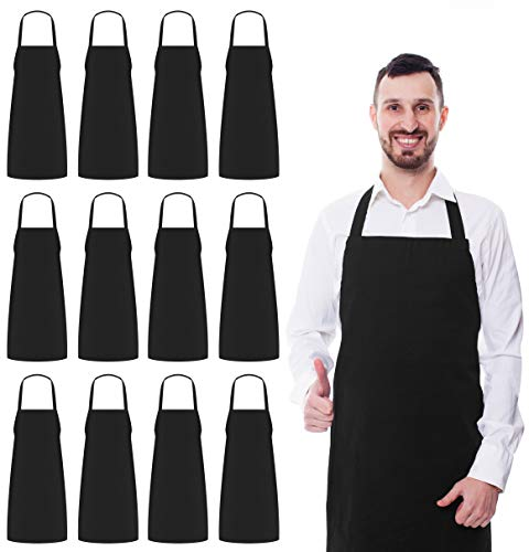 Utopia Kitchen 12 Bib Aprons bulk Pack 32 x 28 Inches- Black Aprons