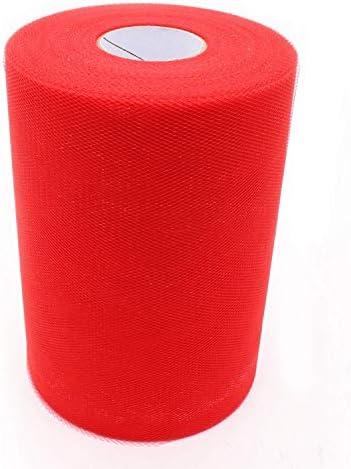 [해외]6 Inch x 100 Yards Red Tulle Roll Spool Tulle Netting for Fabric Table Runner Chair Sash Bow Tutu Skirt Sewing Crafting Fabric Wedding Party Gift Ribbon / 6 Inch x 100 Yards Red Tulle Roll Spool, Tulle Netting for Fabric Table Runn...